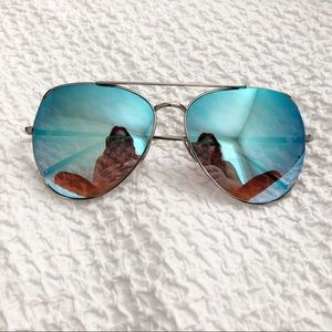 Accessories - Mirrored Blue Aviator Sunglasses with side cut out